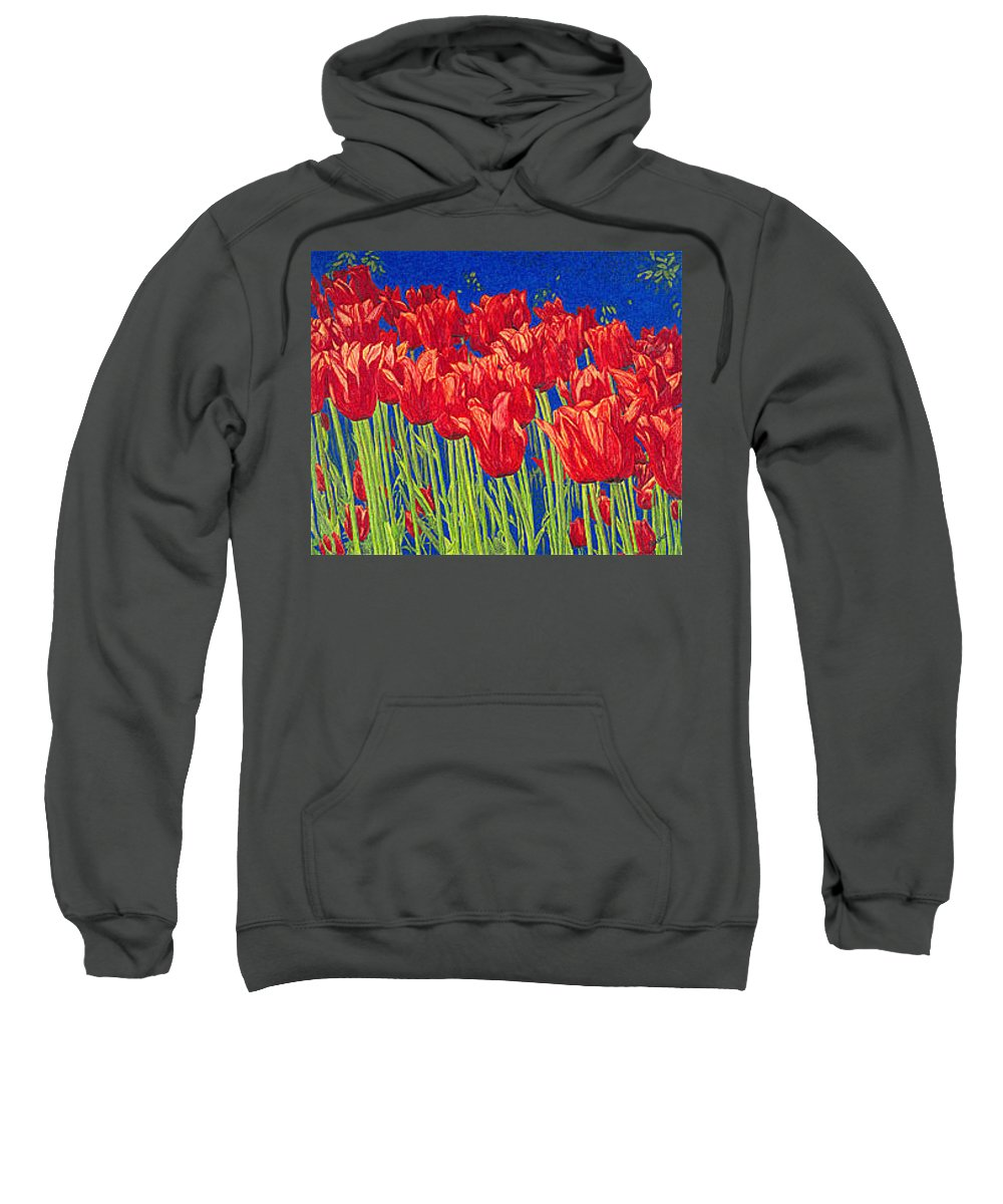 Tulips Sweatshirt featuring the drawing Tulips Tulip Flowers Fine Art Print Giclee High Quality Exceptional Color Garden Nature Botanical by Baslee Troutman