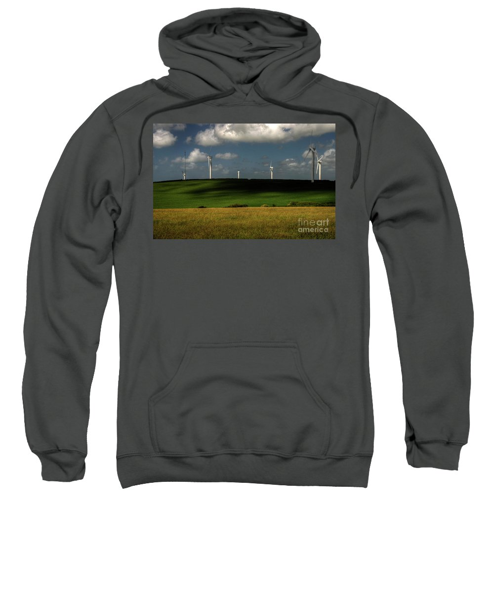 Wind Turbines Nr Goonhaven Sweatshirt featuring the photograph Turbines At Goonhaven by Rob Hawkins