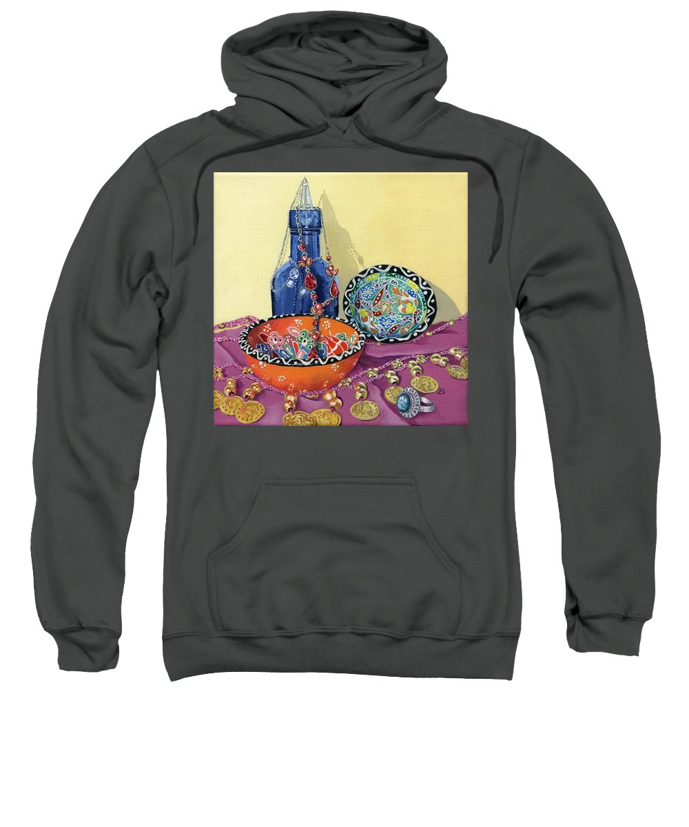 Bottle Sweatshirt featuring the painting Turkish Still Life by Lynne Henderson