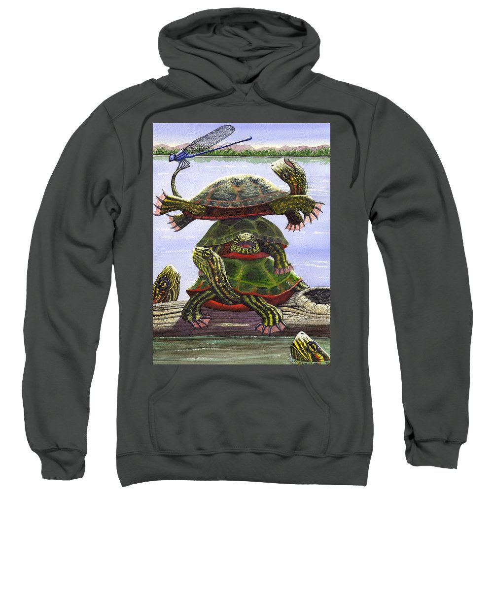 Turtle Sweatshirt featuring the painting Turtle Circus by Catherine G McElroy