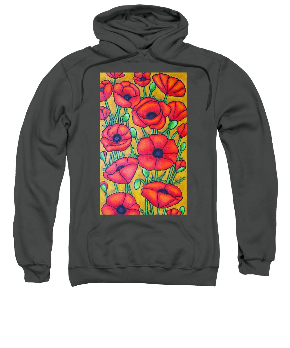 Poppies Sweatshirt featuring the painting Tuscan Poppies - Crop 1 by Lisa Lorenz