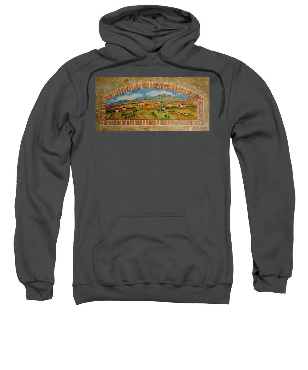 Mural Sweatshirt featuring the painting Tuscan Scene Brick Window by Anita Burgermeister