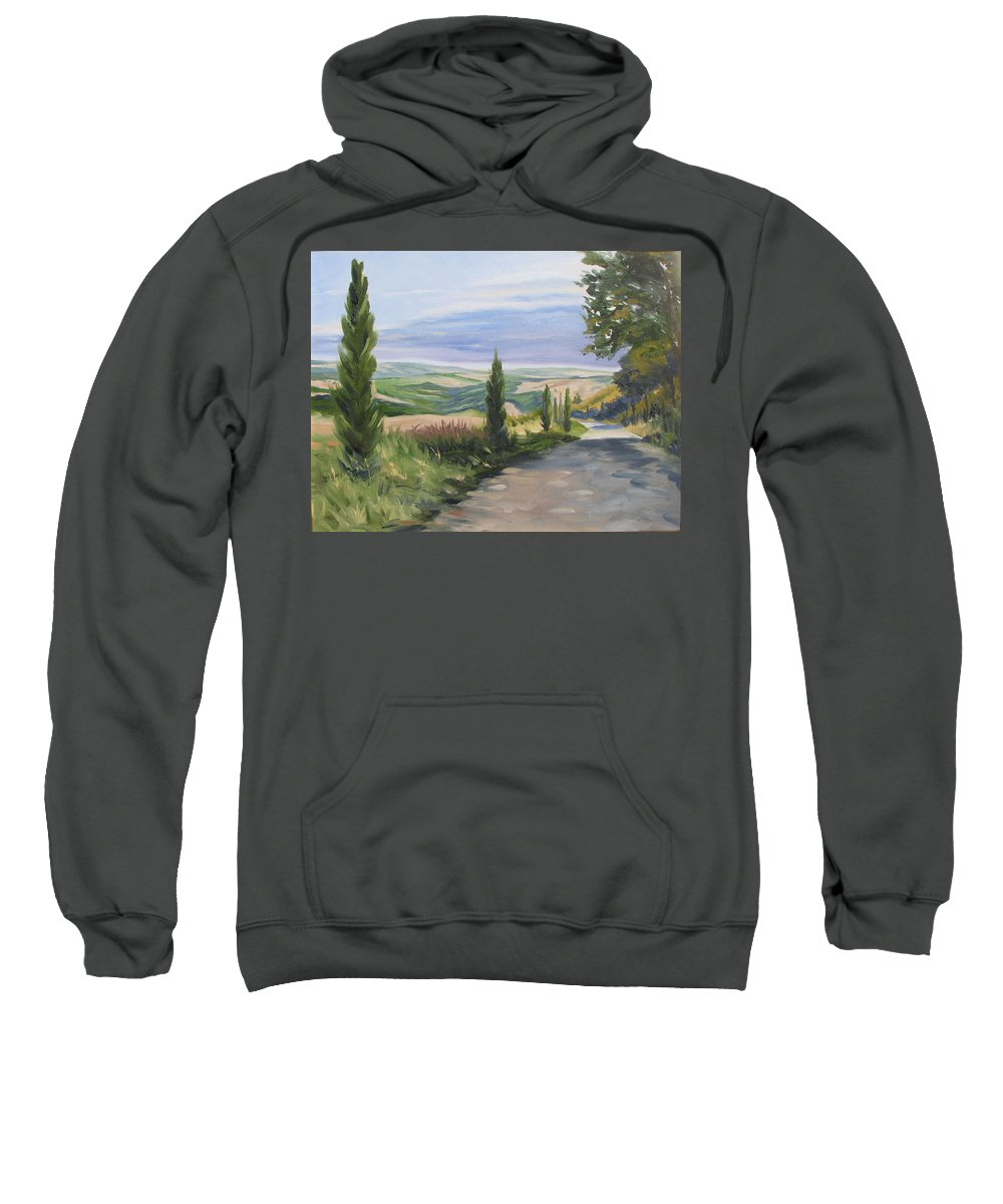 Landscape Sweatshirt featuring the painting Tuscan Walk by Jay Johnson