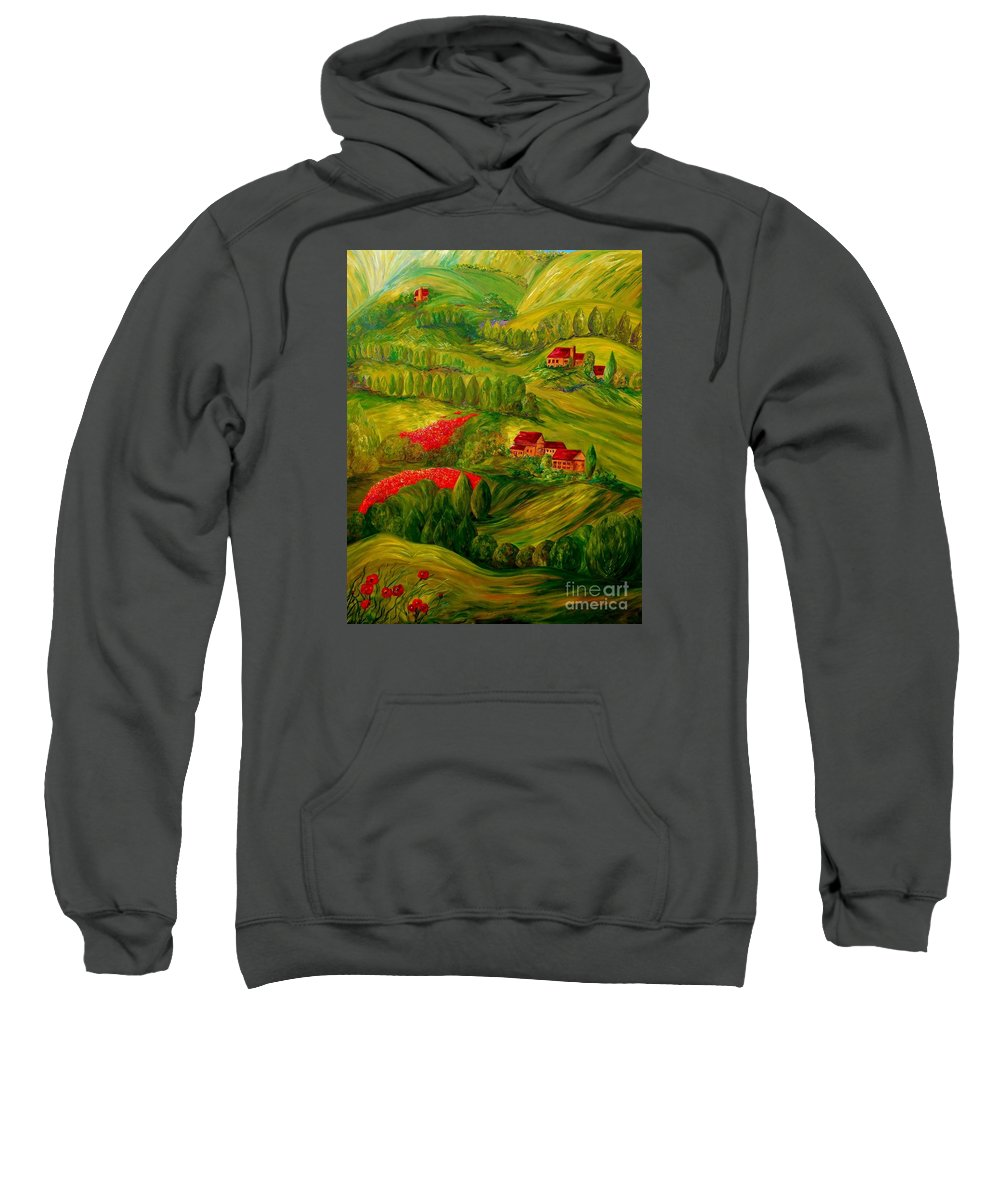 Tuscany Sweatshirt featuring the painting Tuscany At Dawn by Eloise Schneider