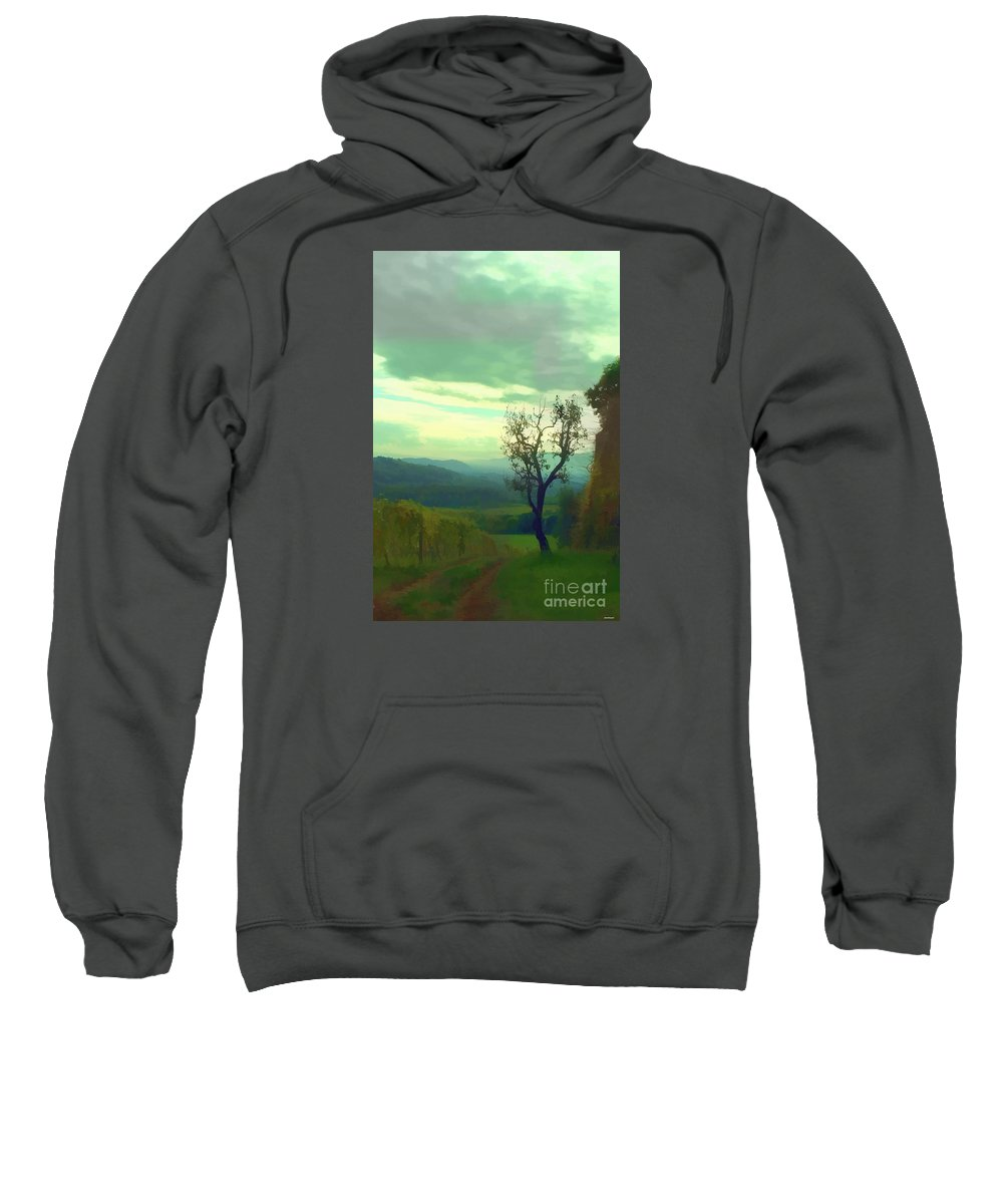 Vineyard Sweatshirt featuring the photograph Tuscany Vineyard by Tom Prendergast