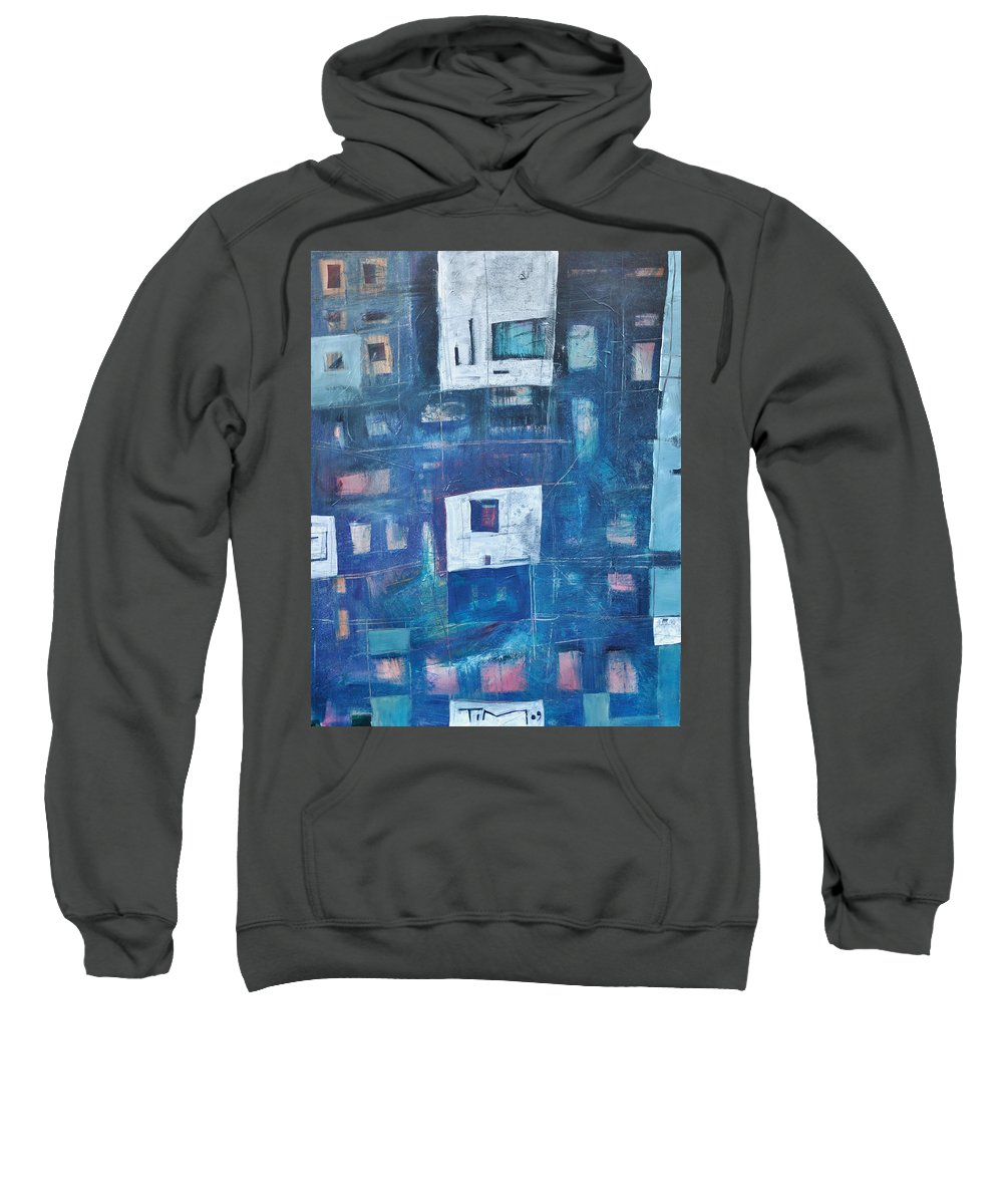Abstract Sweatshirt featuring the painting Twilight Highrise by Tim Nyberg
