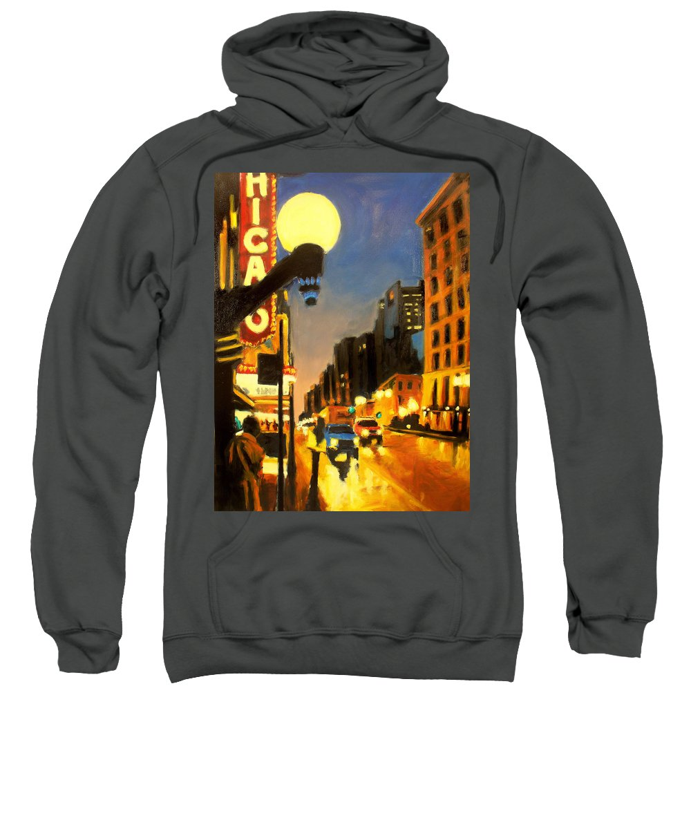 Rob Reeves Sweatshirt featuring the painting Twilight In Chicago - The Watcher by Robert Reeves