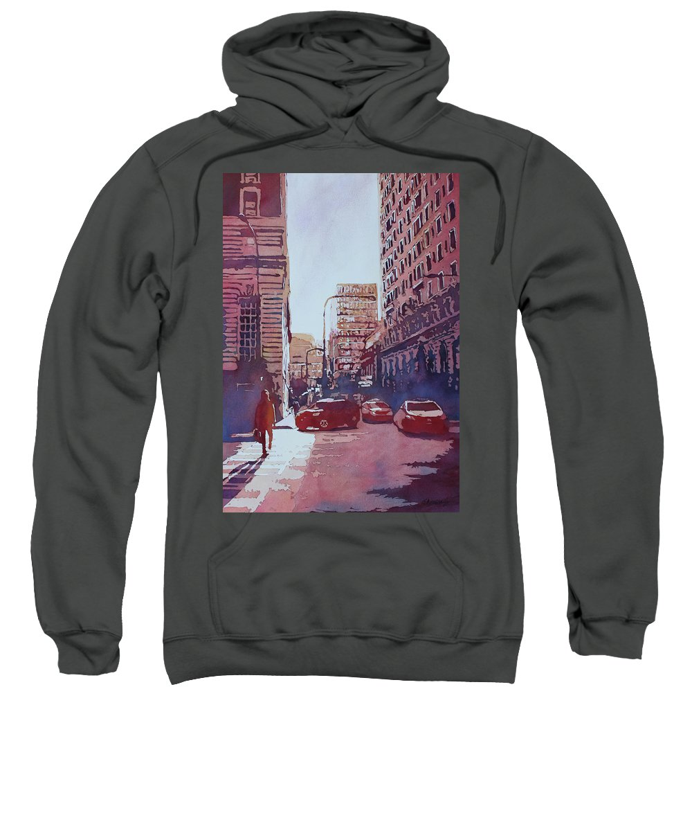 Chicago Sweatshirt featuring the painting Twilight Off Michigan Arve.  by Jenny Armitage