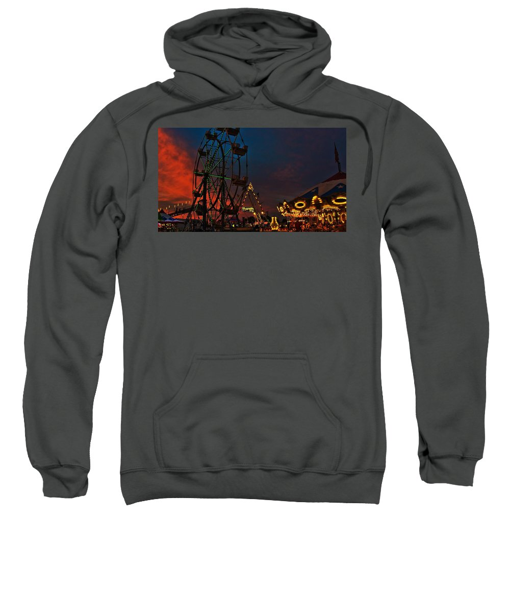 Twilight On The Midway Framed Prints Sweatshirt featuring the photograph Twilight On The Midway by John Harding