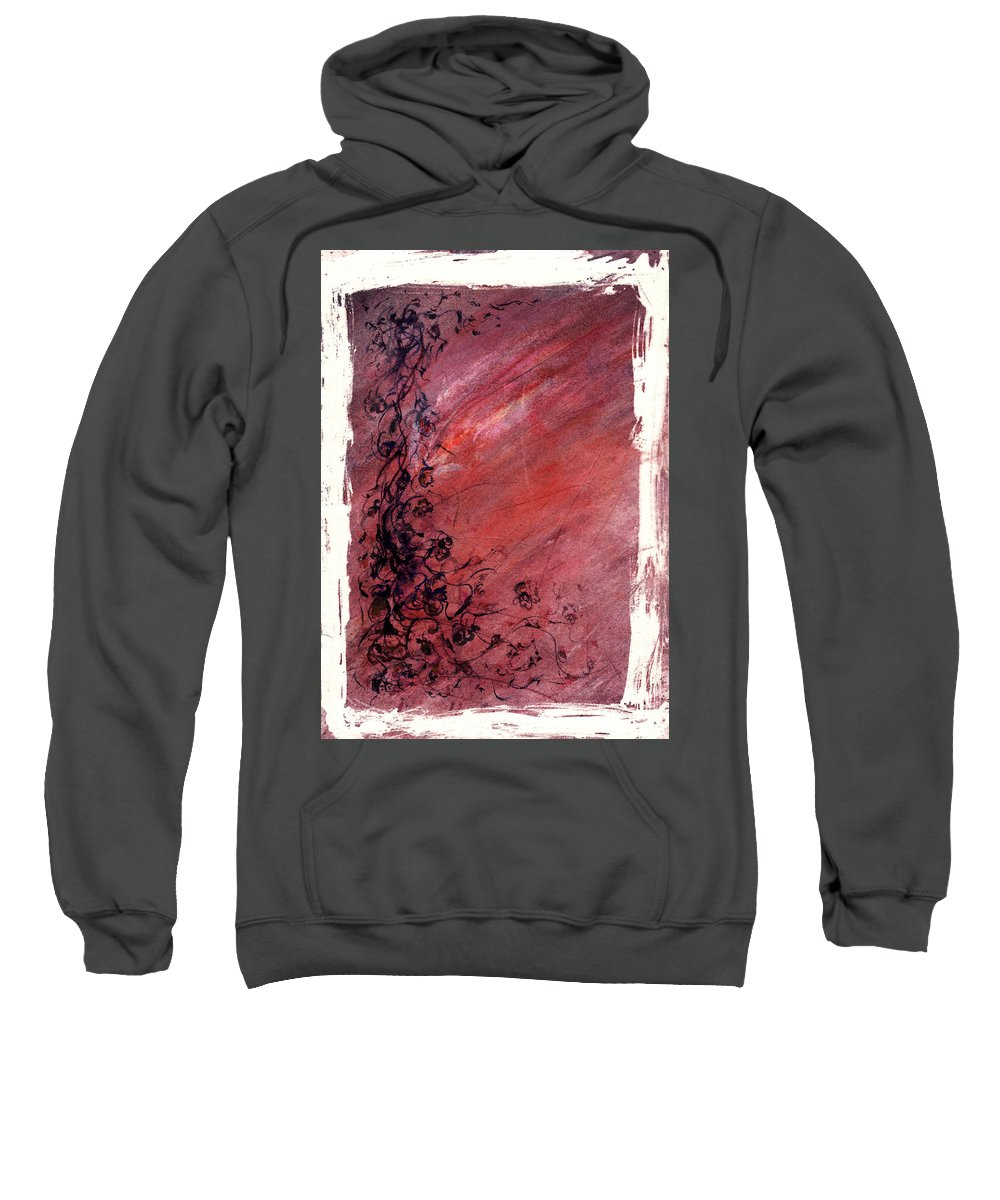 Floral Sweatshirt featuring the painting Twilight Rose by Rachel Christine Nowicki