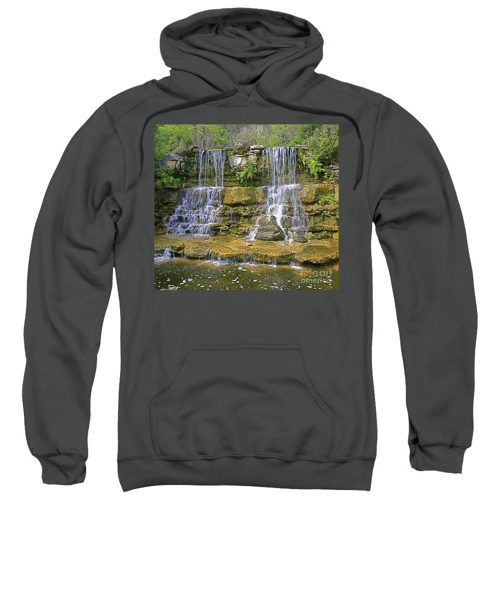 Waterfalls Sweatshirt featuring the photograph Twin Falls by Robert Pearson
