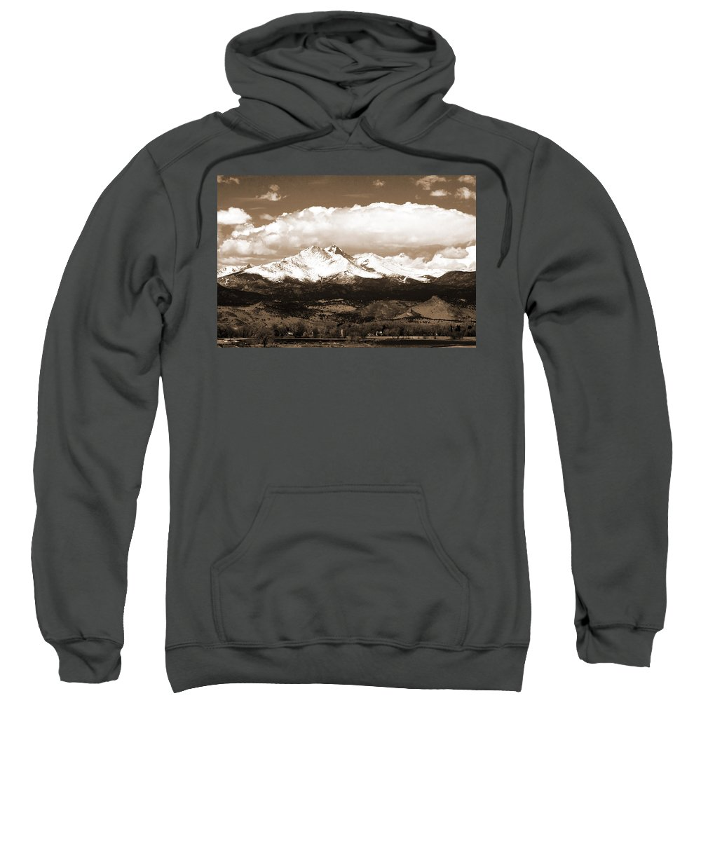 Twin Peeks Sweatshirt featuring the photograph Twin Peaks In Sepia by James BO Insogna