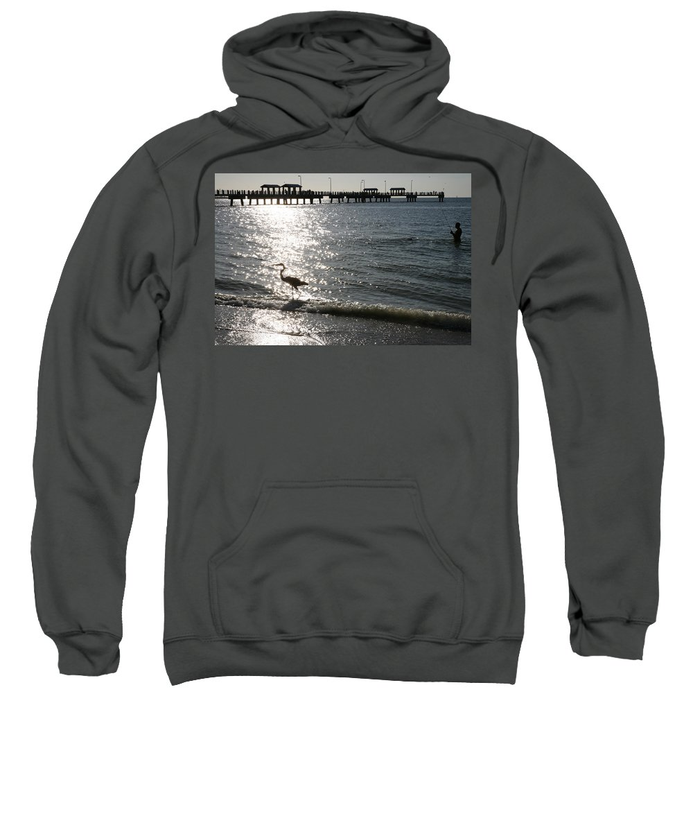 Fort De Soto Sweatshirt featuring the photograph Two Anglers At Fort De Soto by Mal Bray