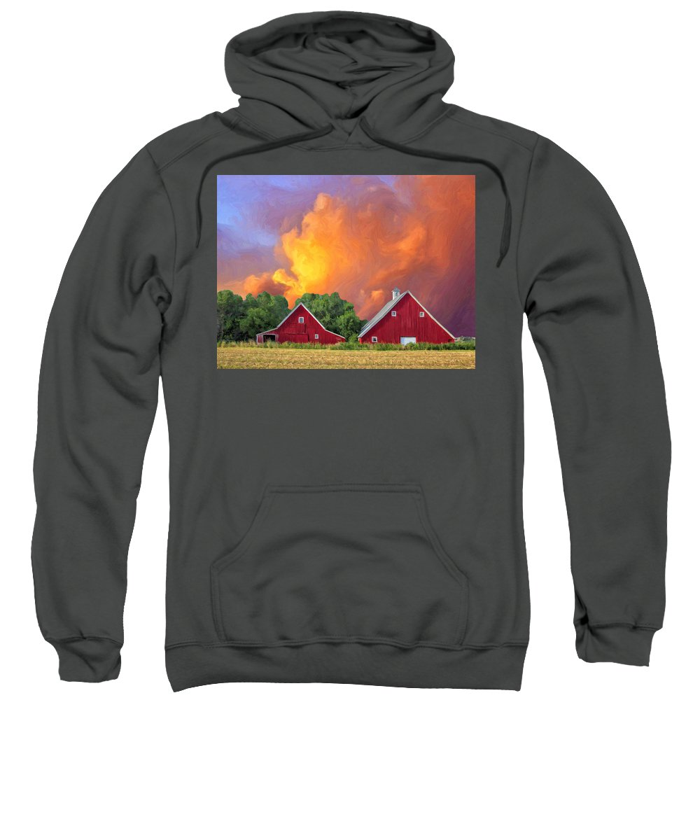 Barn Sweatshirt featuring the painting Two Barns At Sunset by Dominic Piperata