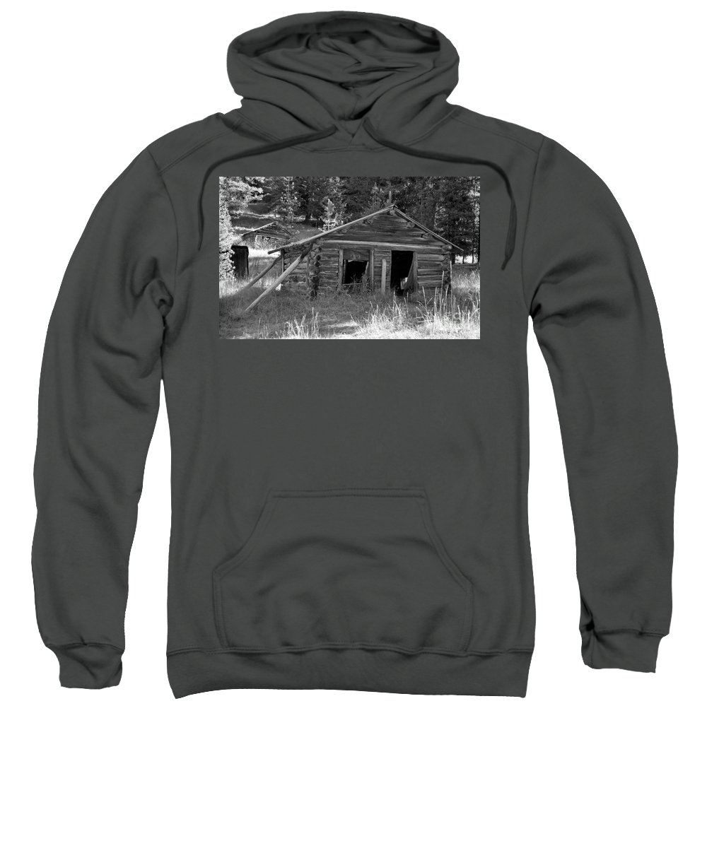 Abandoned Sweatshirt featuring the photograph Two Cabins One Outhouse by Richard Rizzo