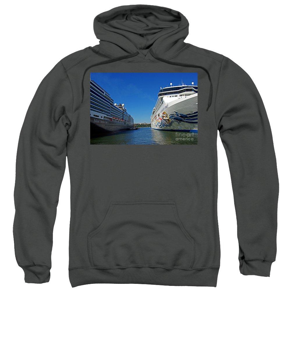 Cruise Sweatshirt featuring the photograph Two Cruise Ships by Zal Latzkovich