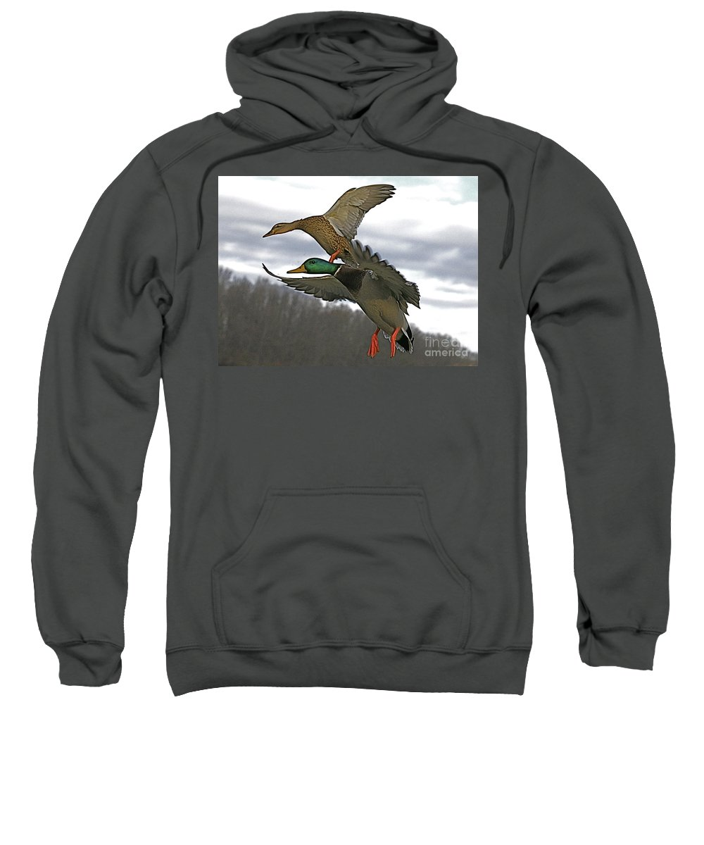 Duck Sweatshirt featuring the photograph Two Land by Robert Pearson