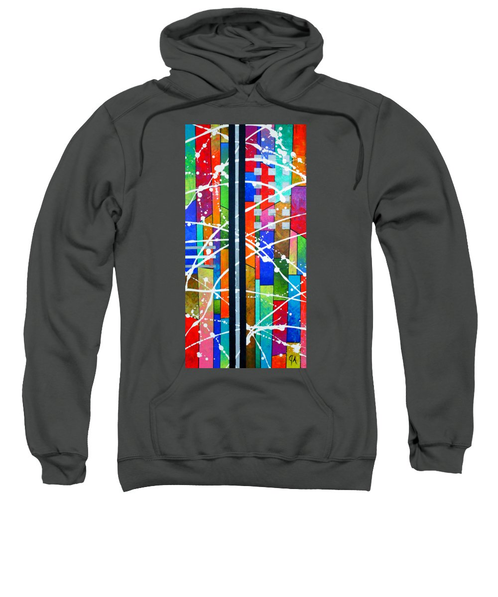 911 Sweatshirt featuring the painting Two Towers by Jeremy Aiyadurai
