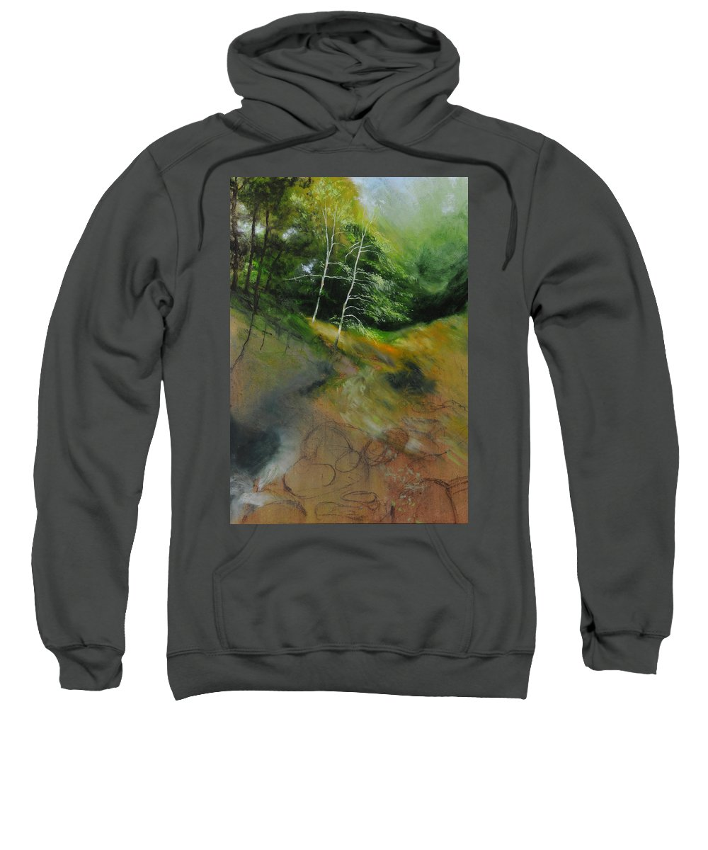 Landscape Sweatshirt featuring the painting Two Trees In Light by Harry Robertson