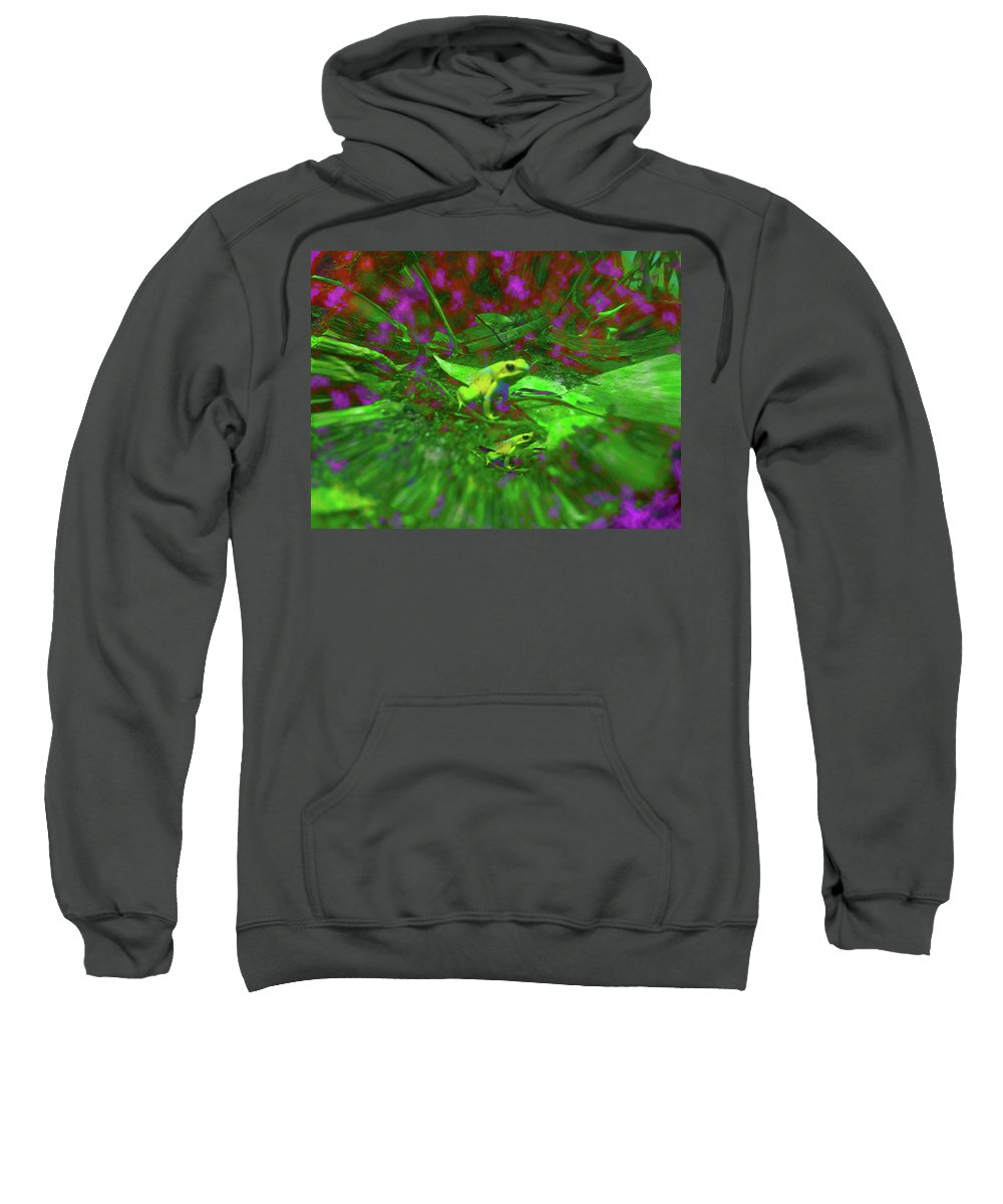 Frogs Sweatshirt featuring the digital art Two Yellow Frogs by Donna Brown