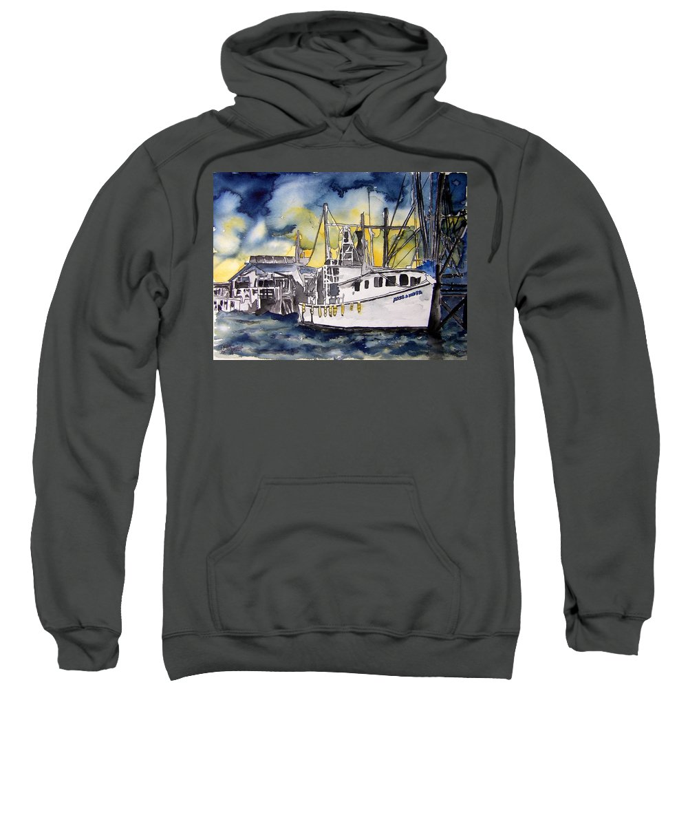 Georgia Sweatshirt featuring the painting Tybee Island Georgia Boat by Derek Mccrea