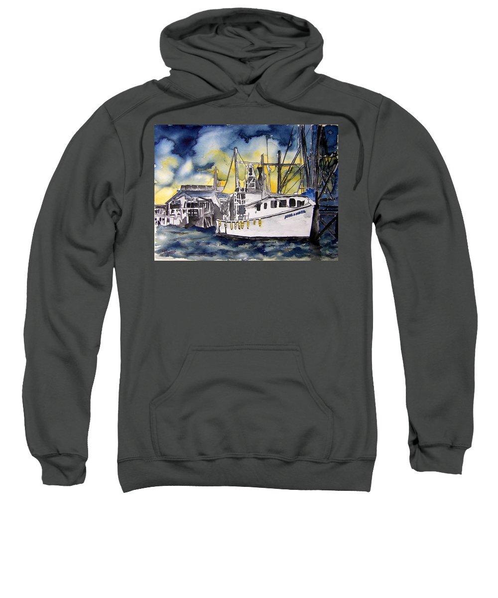 Georgia Sweatshirt featuring the painting Tybee Island Georgia Boat by Derek Mccrea