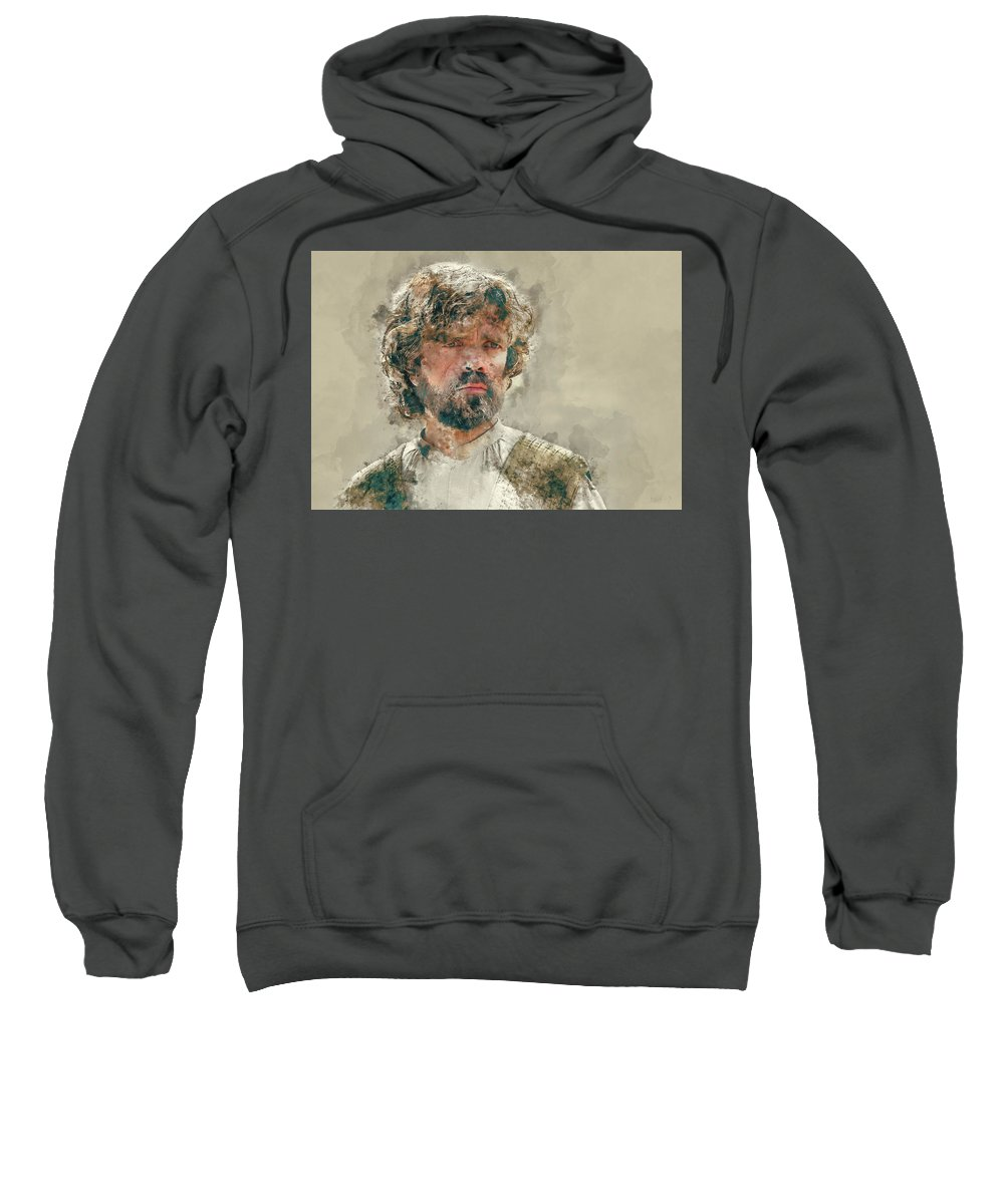 Tyrion Lannister Sweatshirt featuring the painting Tyrion Lannister, Game Of Thrones by Dante Blacksmith