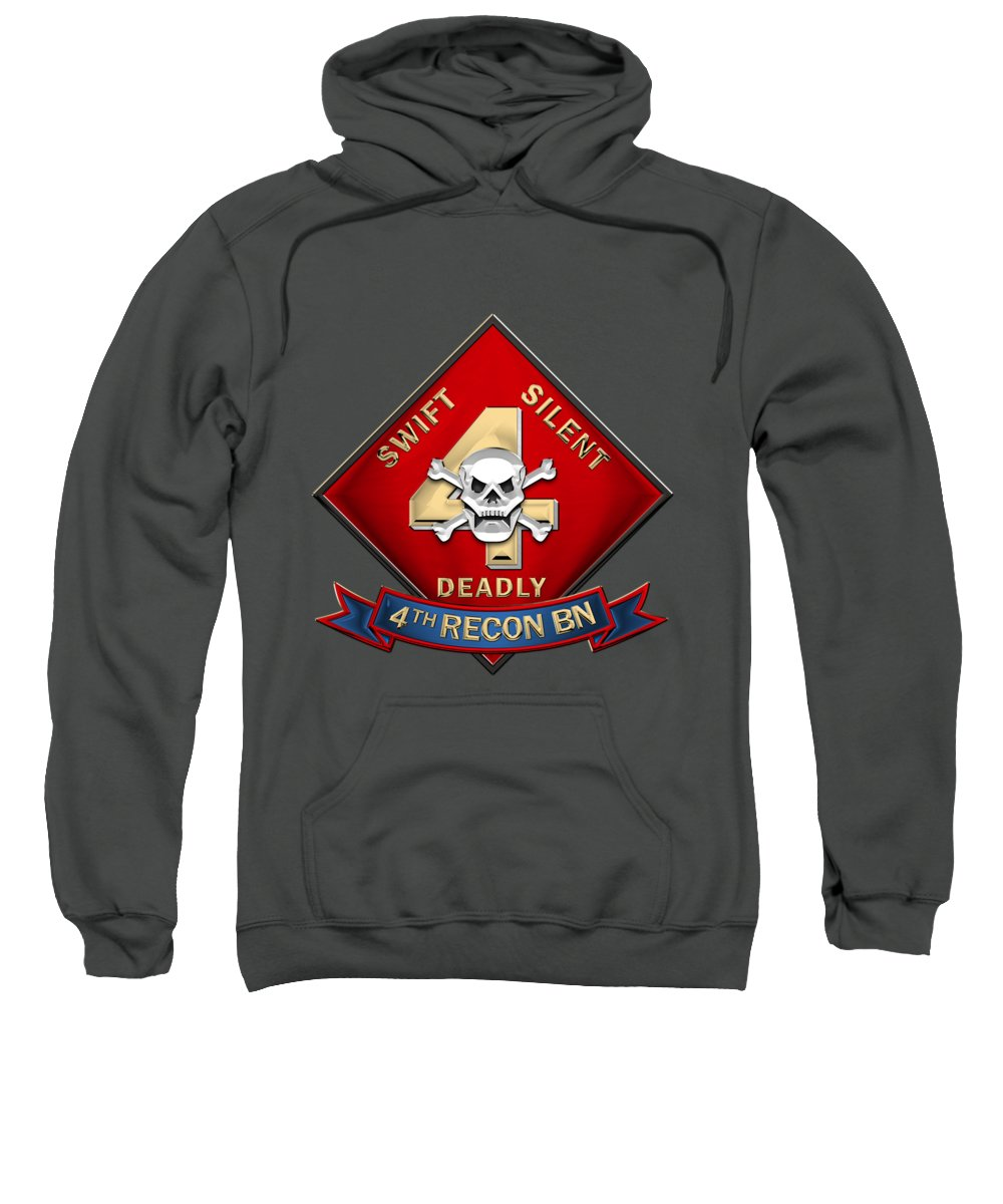 'military Insignia & Heraldry' Collection By Serge Averbukh Sweatshirt featuring the digital art U S M C 4th Reconnaissance Battalion - 4th Recon Bn Insignia Over Red Velvet by Serge Averbukh
