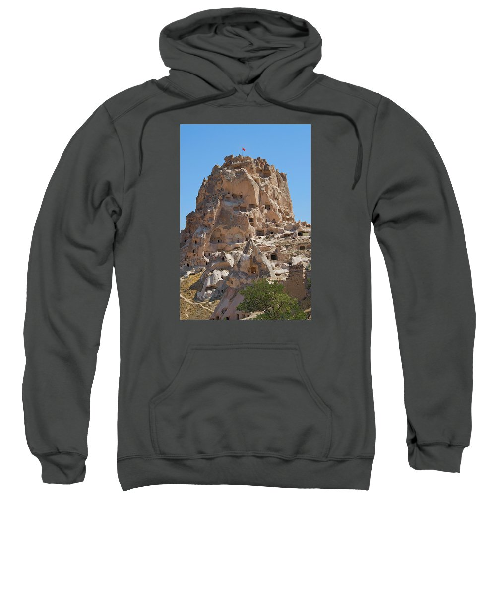 Turkey Sweatshirt featuring the photograph Uchisar Castle Turkey by Alan Toepfer