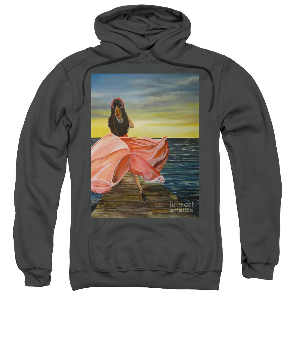 Sunset Sweatshirt featuring the painting Uhane O Ka Welo by Kris Crollard