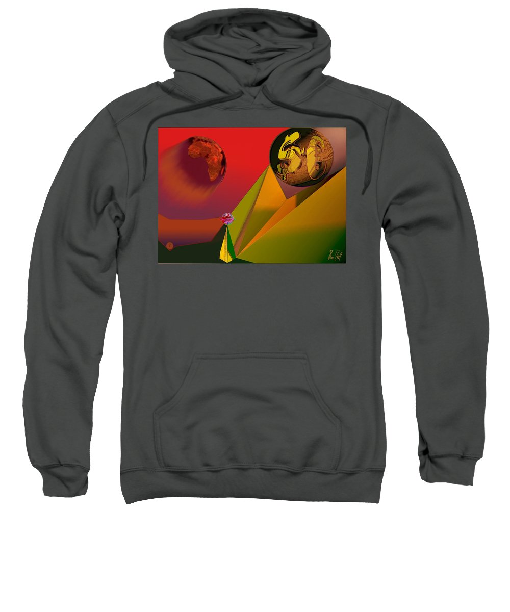 Earth Sweatshirt featuring the digital art Unbalanced-the Source Of Violence by Helmut Rottler