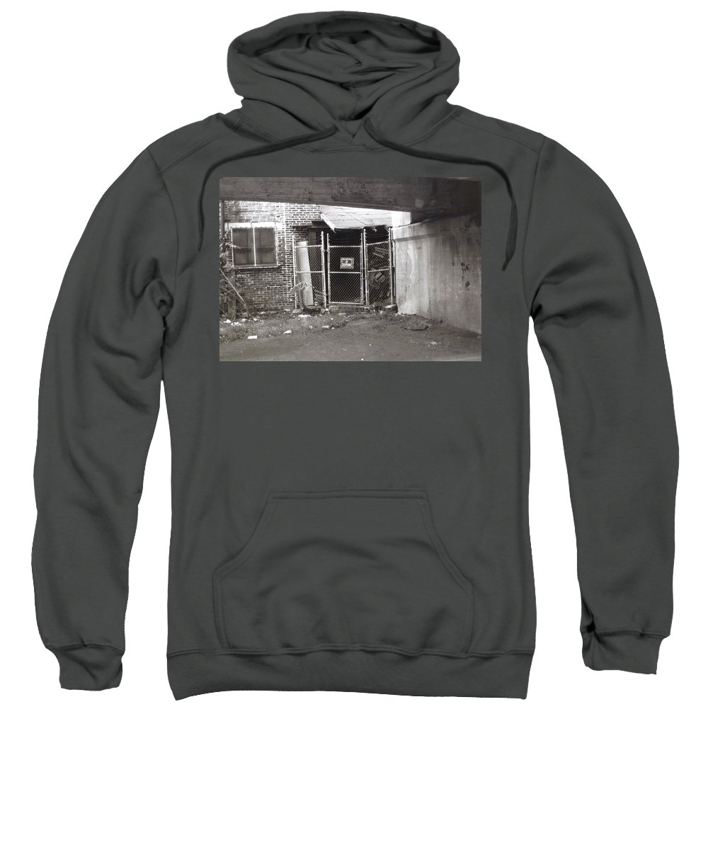 Black And White Photograph Sweatshirt featuring the photograph Under The Bridge by Thomas Valentine