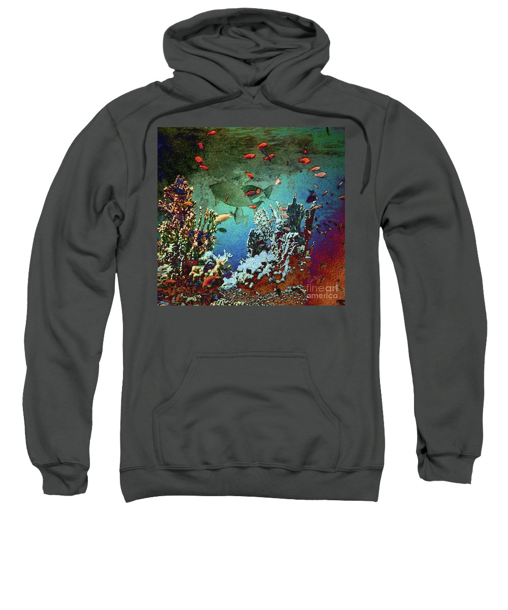Fish Sweatshirt featuring the mixed media Unicorn Fish by Callan Art