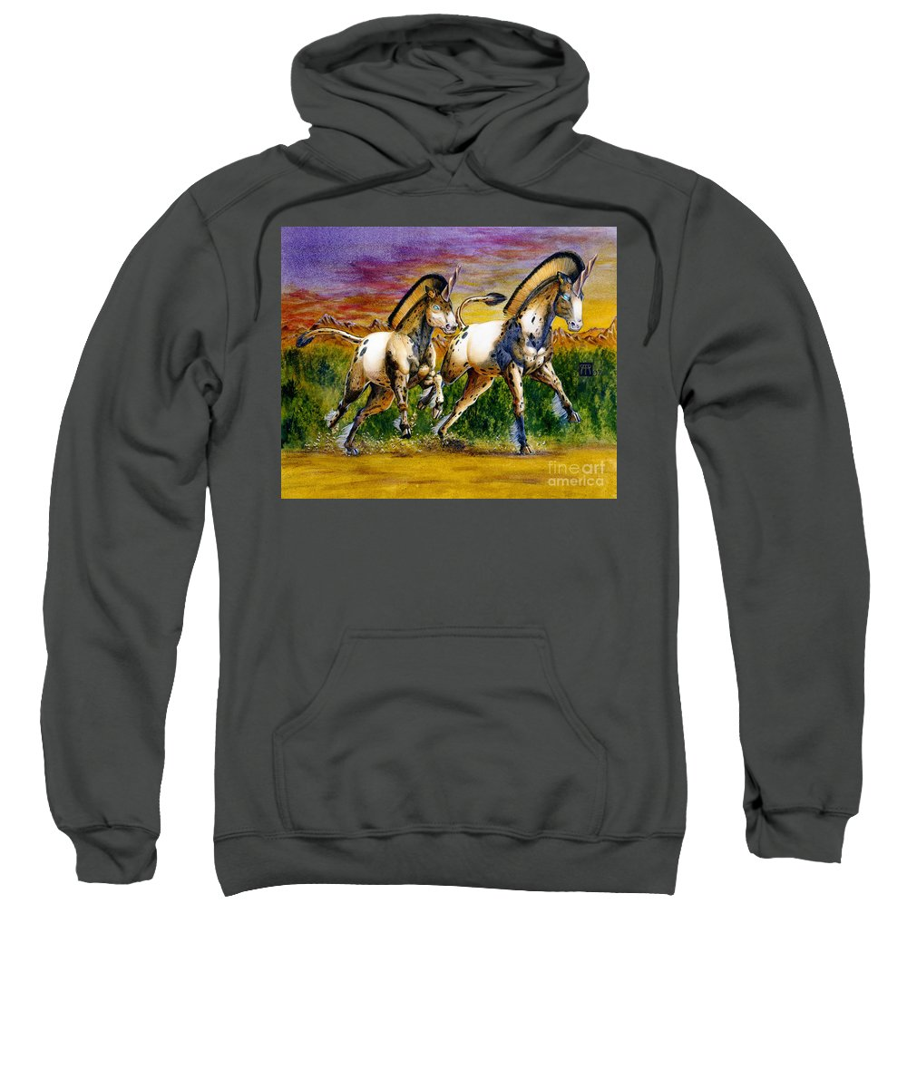 Artwork Sweatshirt featuring the painting Unicorns In Sunset by Melissa A Benson