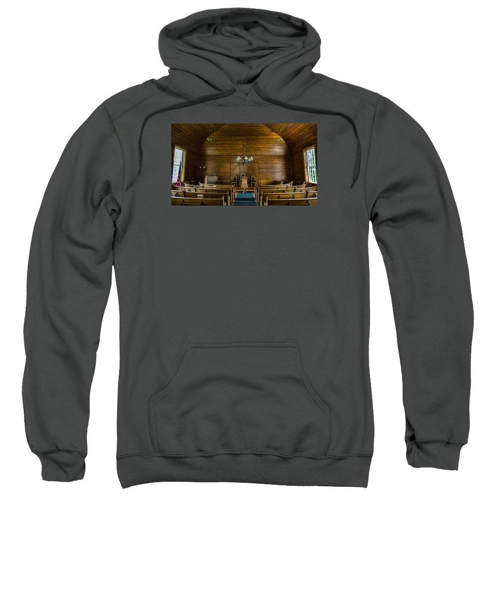 Union Christian Church Sweatshirt featuring the photograph Union Christian Church Sanctuary by Stephen Stookey
