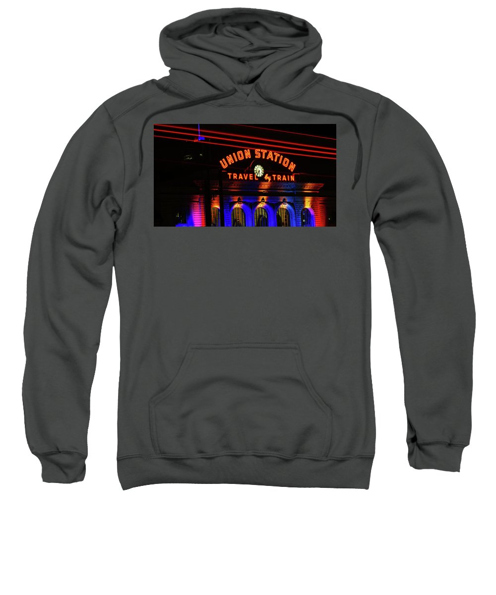 Denver Union Station Sweatshirt featuring the photograph Union Station Lights by Brian Kerls
