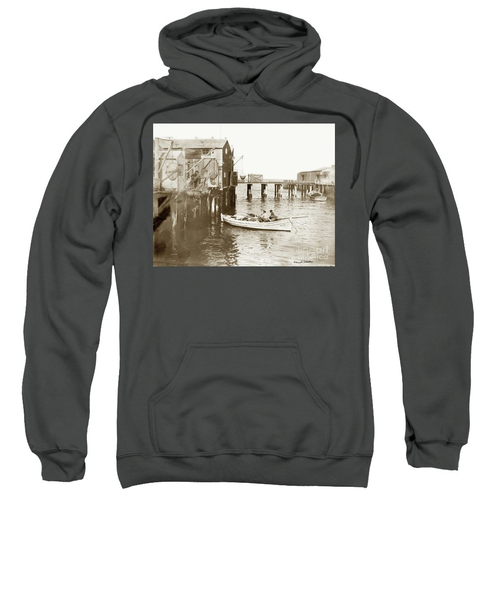 Monterey Wharf Circa 1925 Sweatshirt featuring the photograph Unloading Small Fishing Boat At Fisherman's Wharf 1920 by California Views Archives Mr Pat Hathaway Archives