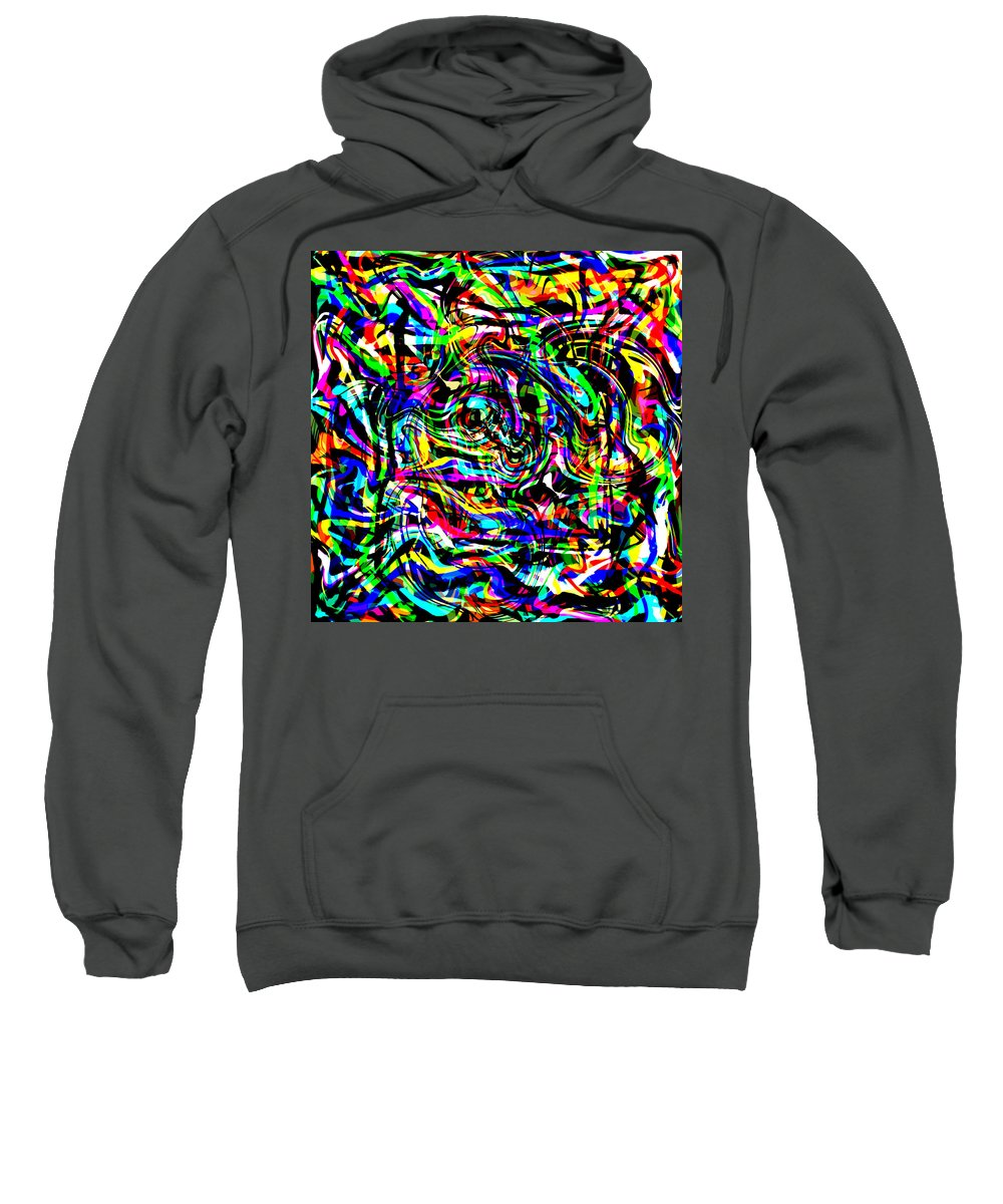 Abstract Sweatshirt featuring the digital art Unra by Blind Ape Art