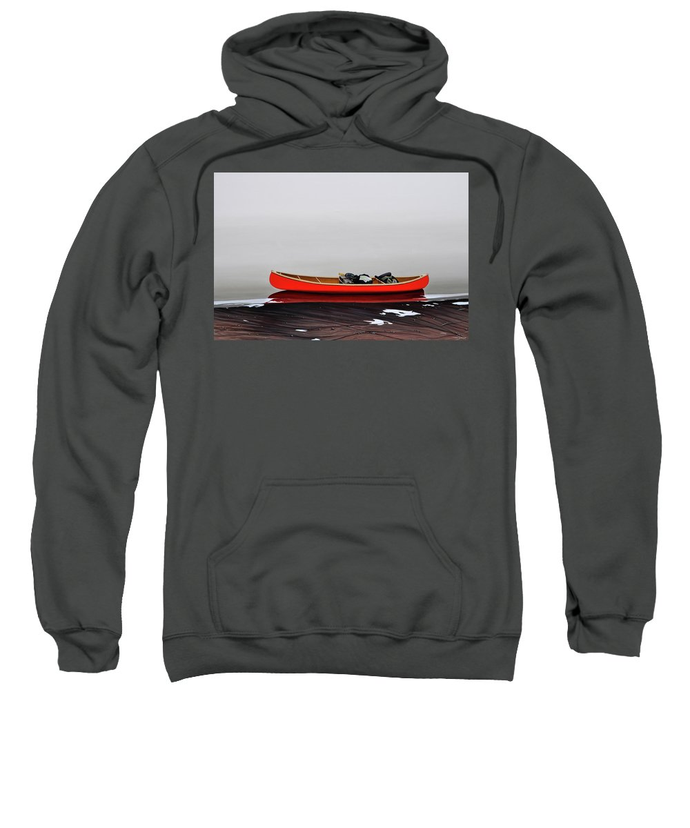 Landscape Paintings Sweatshirt featuring the painting Until The Fog Lifts by Kenneth M Kirsch