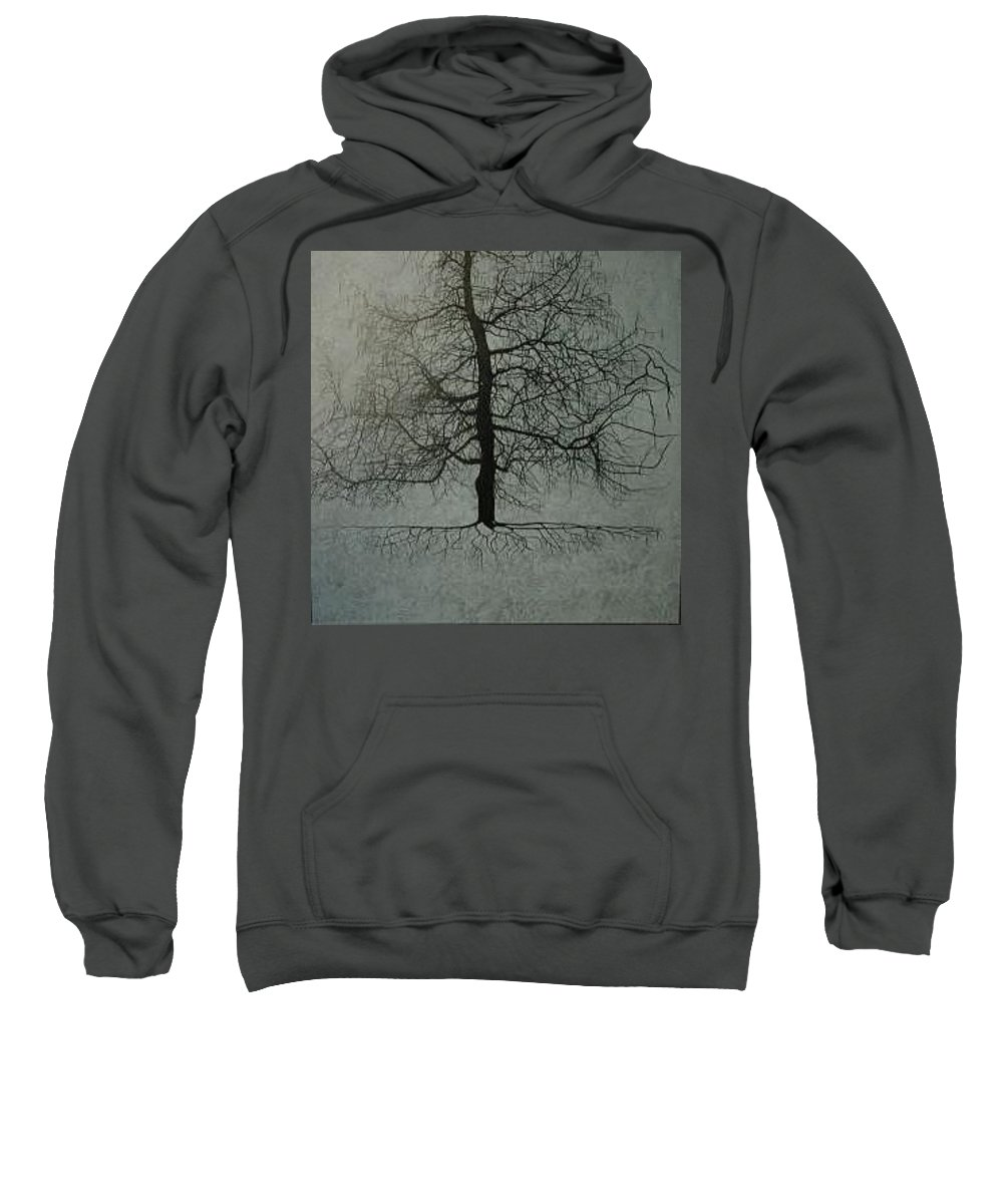 Silhouette Sweatshirt featuring the painting Untitled Blue by Leah Tomaino