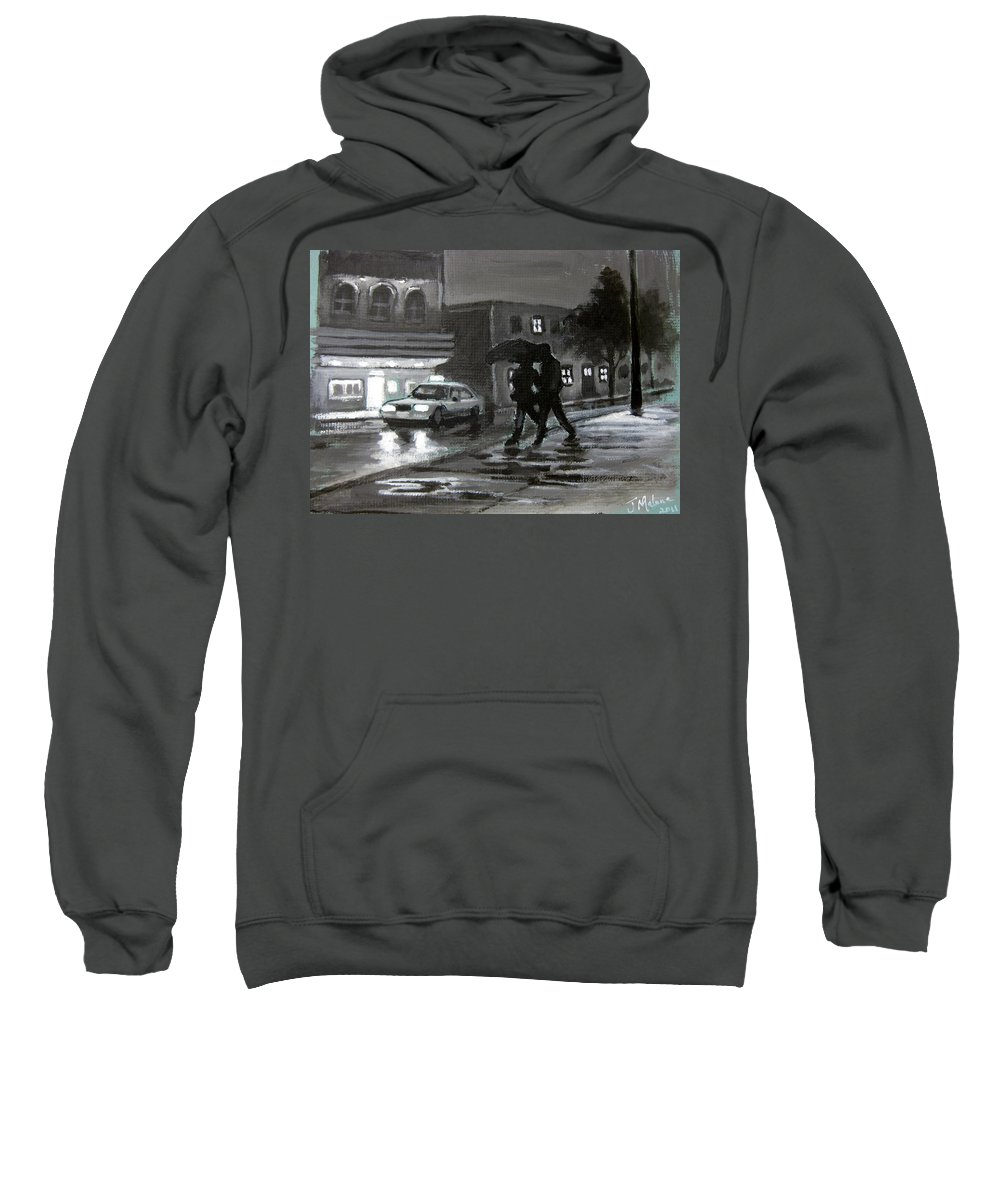 Street Scenes At Night Sweatshirt featuring the painting Untitled Two by John Malone