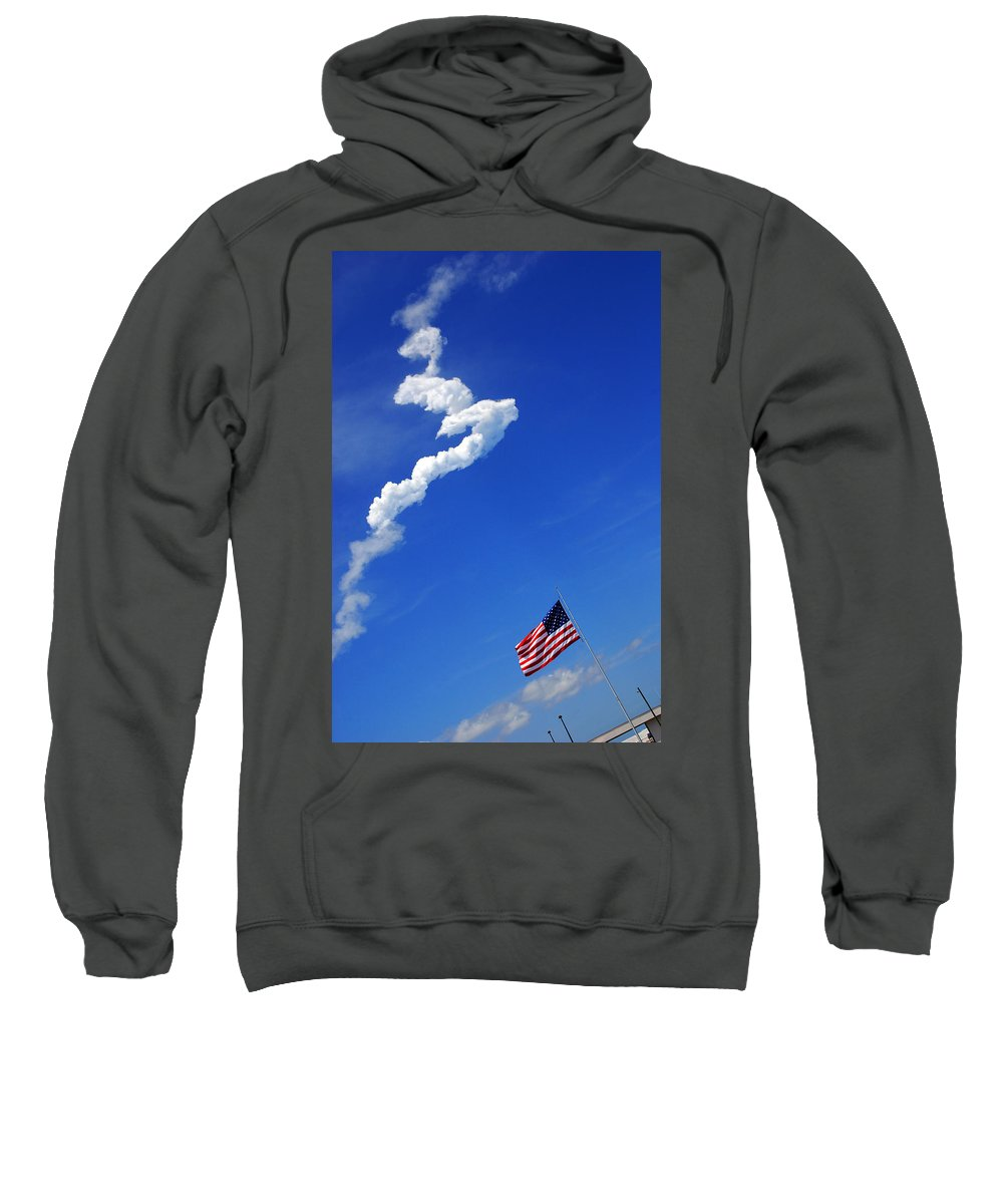 Science Sweatshirt featuring the photograph Up Up To The Sky - The Shuttle Is Gone by Susanne Van Hulst