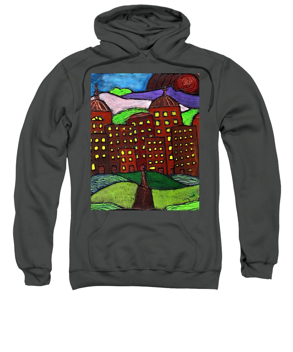 City Scape Sweatshirt featuring the painting Urban Legand by Wayne Potrafka
