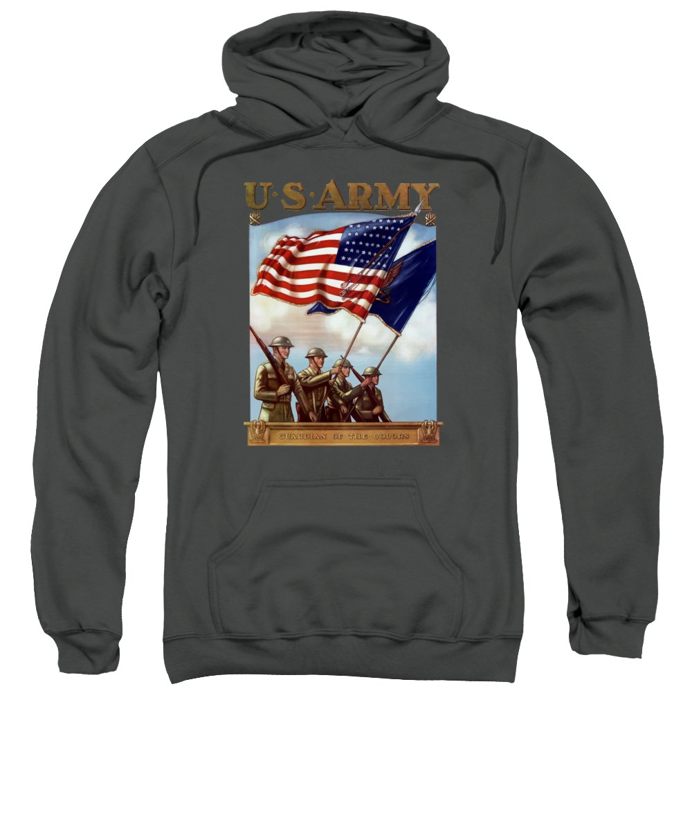 Us Army Sweatshirt featuring the painting Us Army -- Guardian Of The Colors by War Is Hell Store