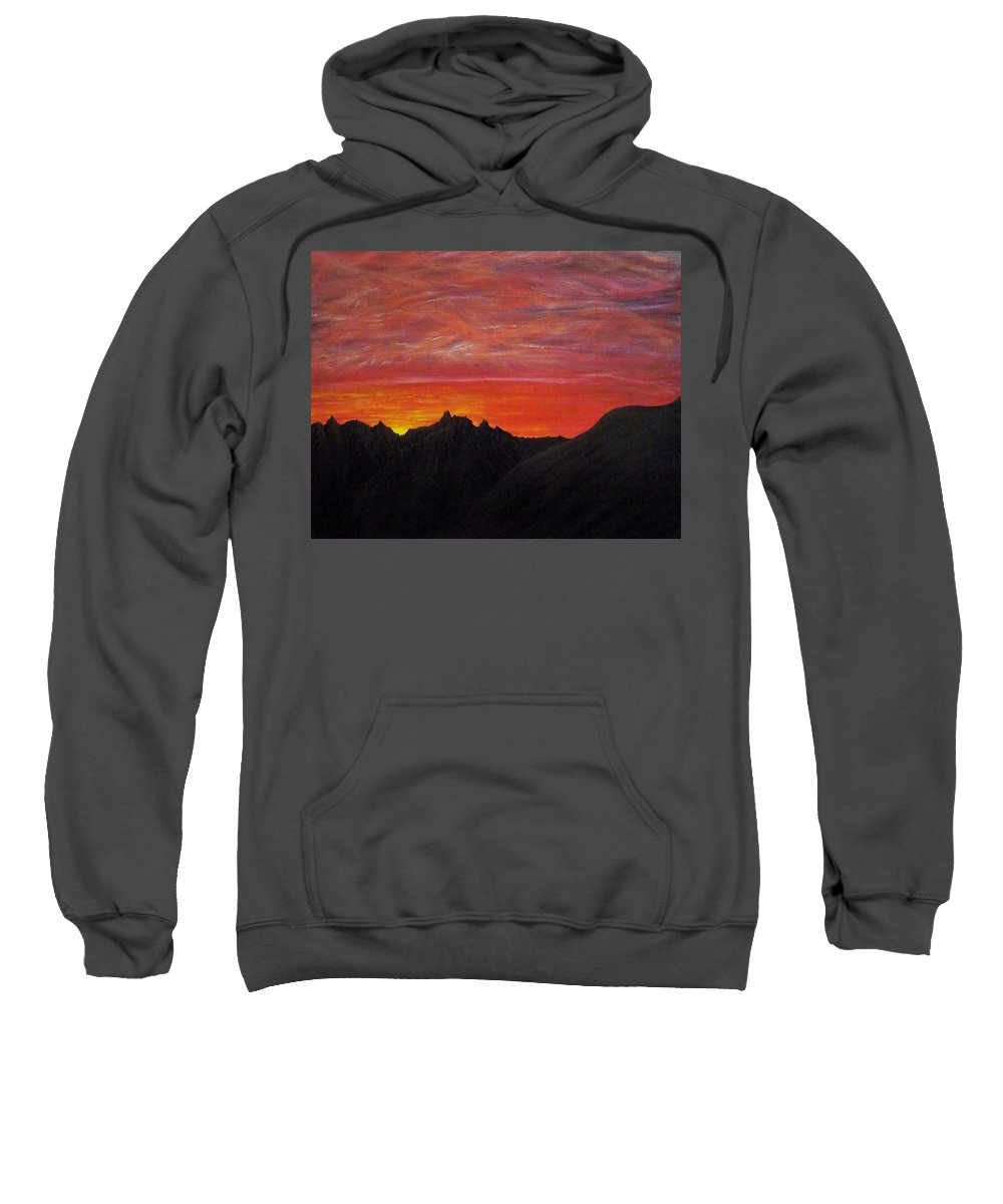 Sunset Sweatshirt featuring the painting Utah Sunset by Michael Cuozzo