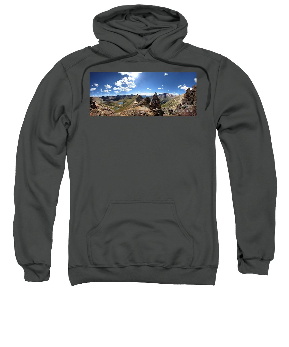 Colorado Sweatshirt featuring the photograph Valecito And Chicago Basins From Mt Jupiter - Weminuche Wilderness - Colorado by Bruce Lemons