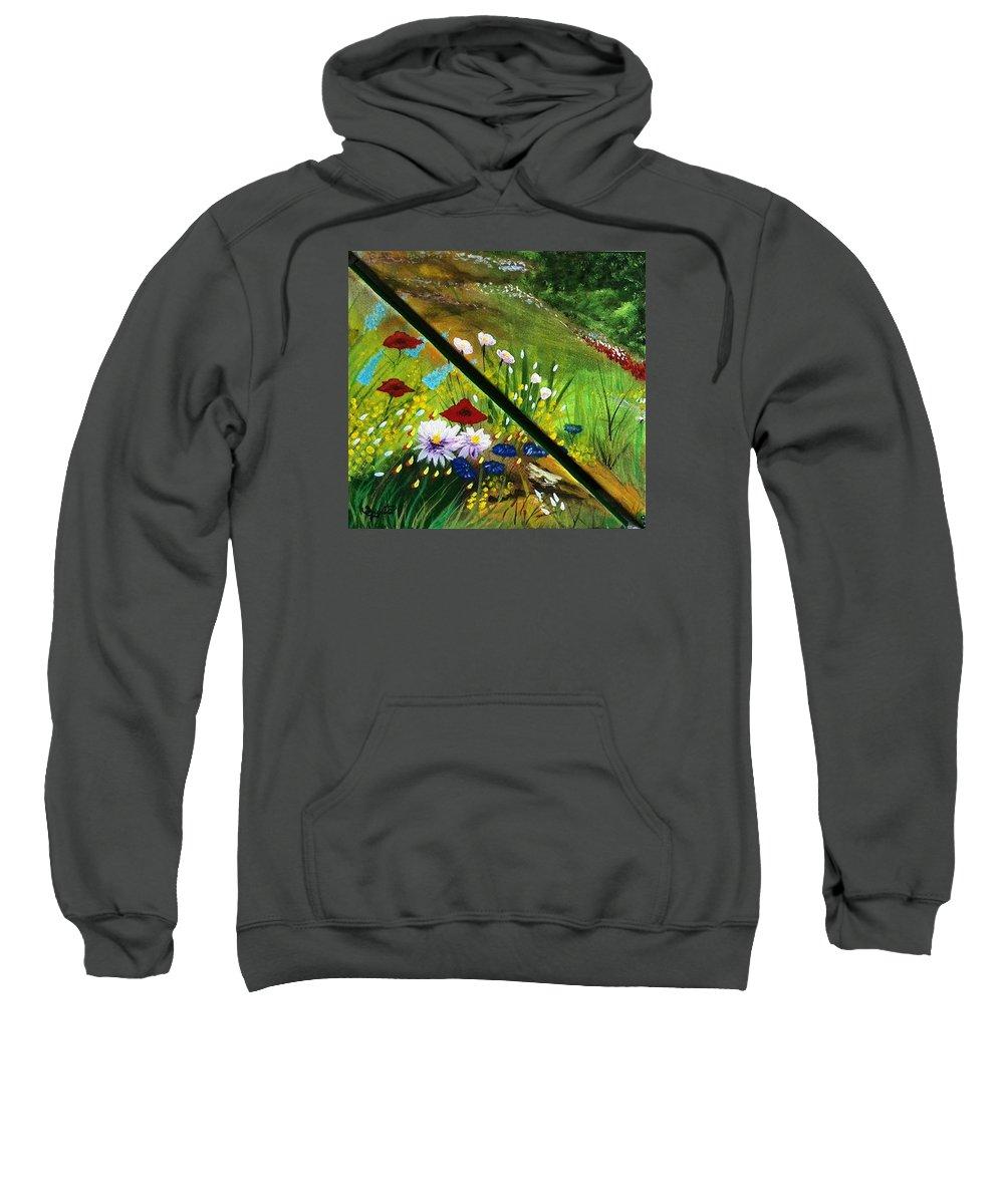 Valley Sweatshirt featuring the painting Valley by Sigita Smetonaite