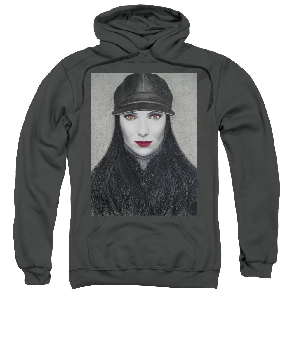 Vampire Sweatshirt featuring the painting Vampire by Lynet McDonald