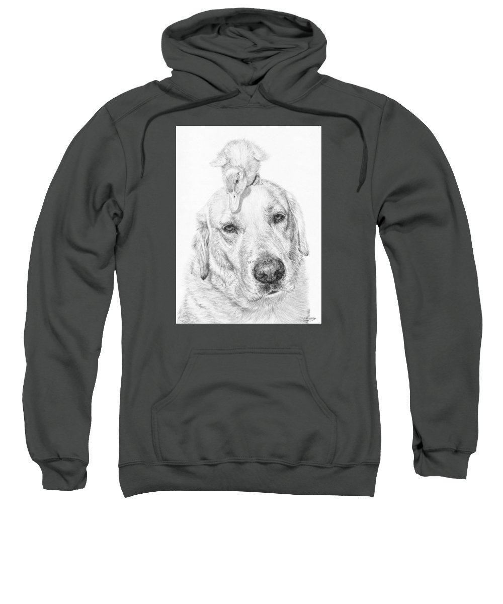 Dog Sweatshirt featuring the drawing Vantage Point by Frances Vincent