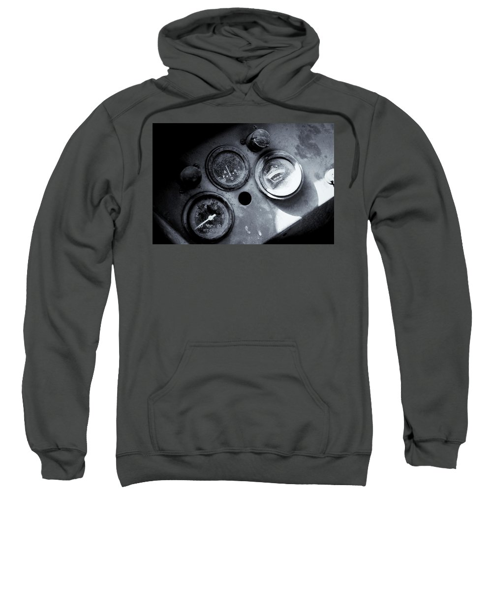 Vehicle Dials Sweatshirt featuring the photograph Vehicle Dials In Dust by John Williams